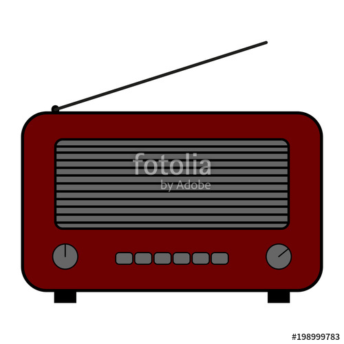 500x500 old and retro style radio flat style vector drawing dark red