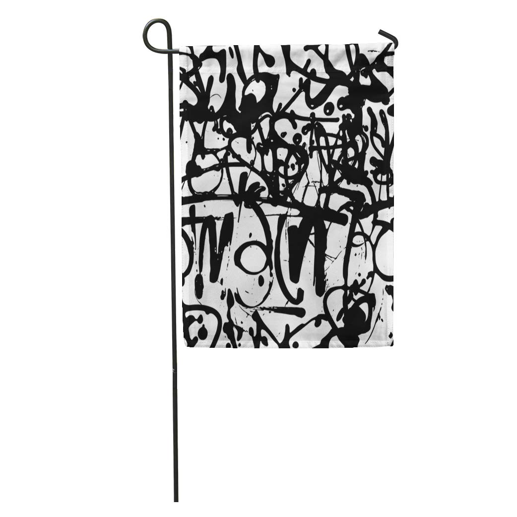 1042x1042 Semtomn Garden Flag Graffiti Abstract Tags Letters