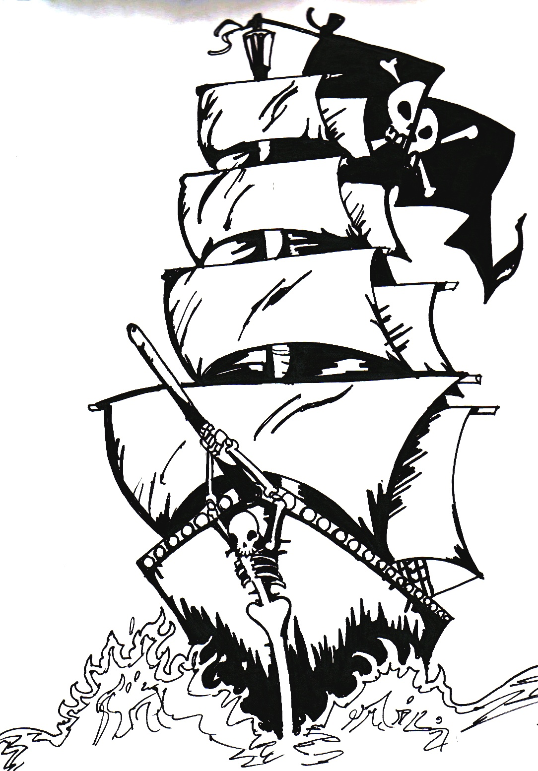 1084x1554 mermaid on the pirate ship pirate ship sketch drawn sailing ship