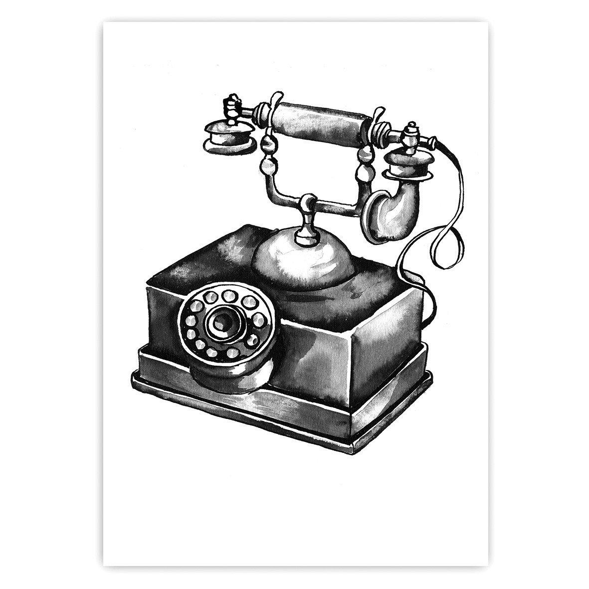 1181x1181 Old Telephone Stine Hvid Illustrations