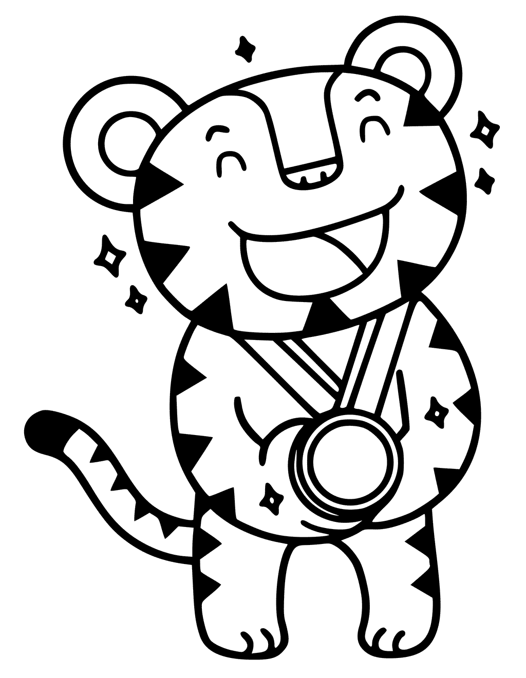 1024x1320 olympic mascot with olympic medal coloring pages