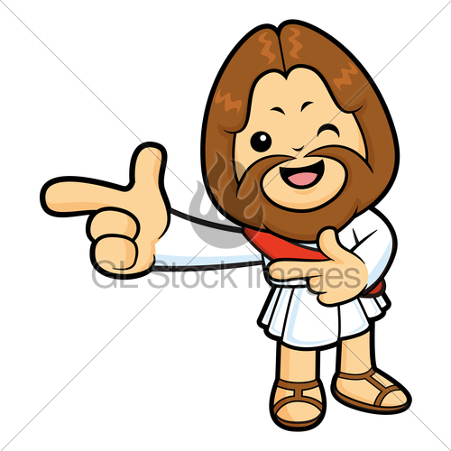 500x500 Jesus Character Is Points A Finger One Direction Gl Stock Images