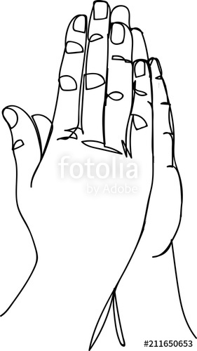 281x500 Continuous Line Art Or One Line Drawing Of Prayer Hand Stock