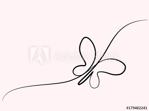 500x375 Continuous One Line Drawing Flying Butterfly Logo Vector