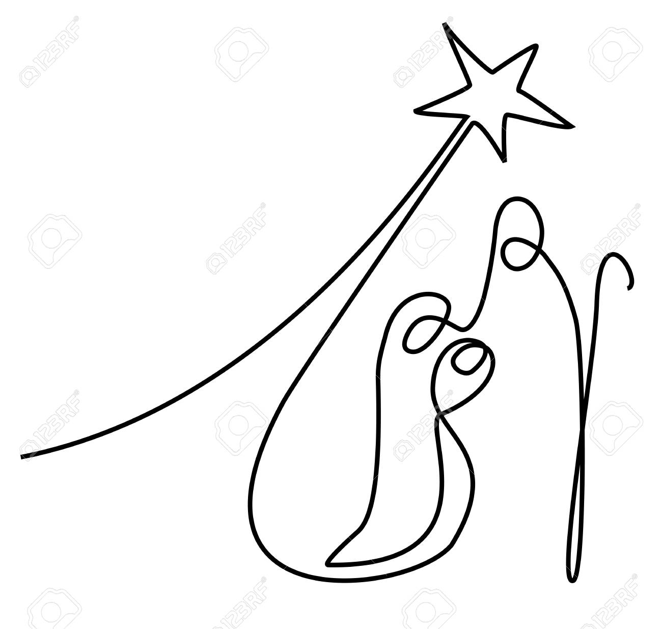 1300x1235 Huge Collection Of 'nativity Scene Line Drawing' Download More