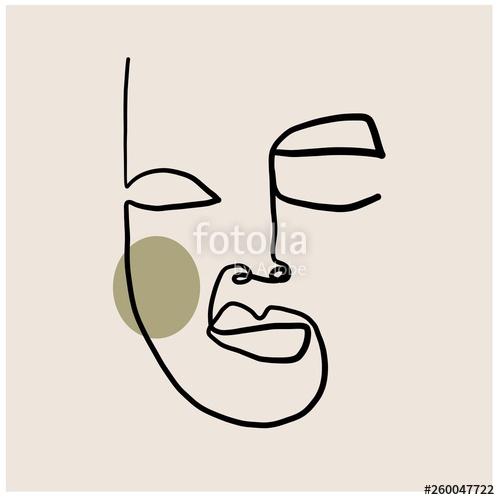 500x500 One Line Drawing Continuous Single Line Art Minimalism Portrait