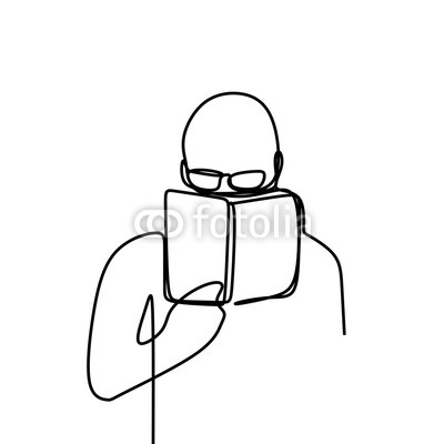 400x400 Person Read A Book One Line Drawing Vector Illustration Isolated