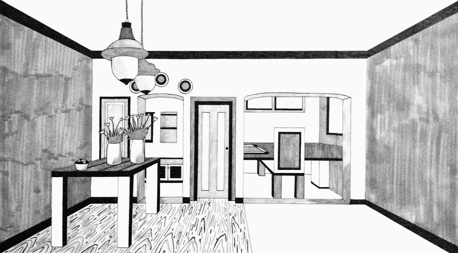 One Point Perspective Drawing Room | Free download best One ...