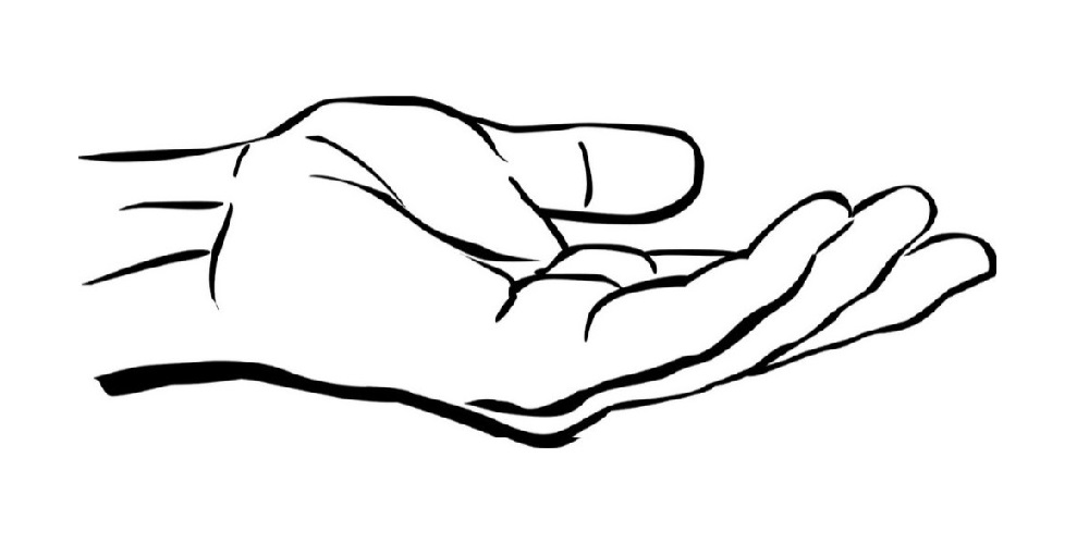 Open Palm Hand Drawing