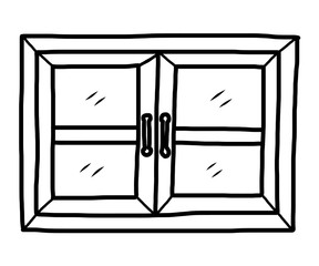 288x240 Open Window Cartoon Vector And Illustration, Black And White
