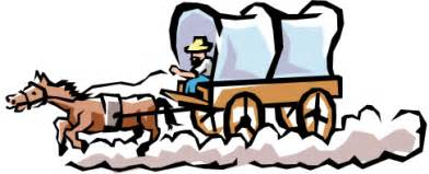 392x159 Horse And Covered Wagon Clipart