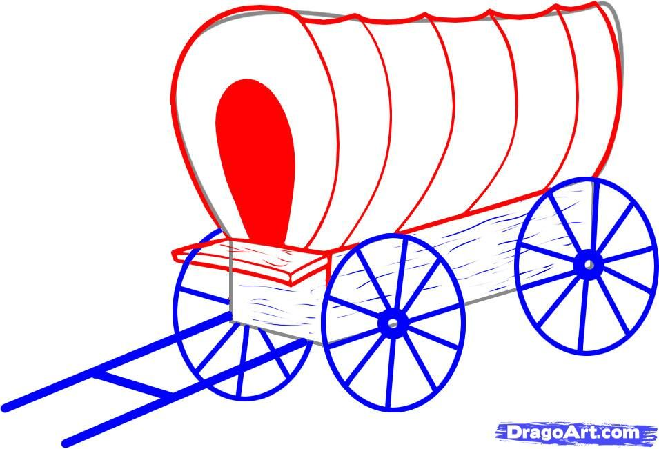 955x651 How To Draw A Covered Wagon Step