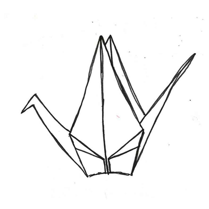 886x886 origami drawing origami crane for free download