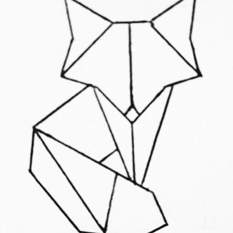 480x480 drawn origami fox origami