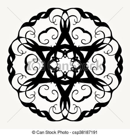 450x470 ornate doodle mandala ornate doodle round rosette in black over