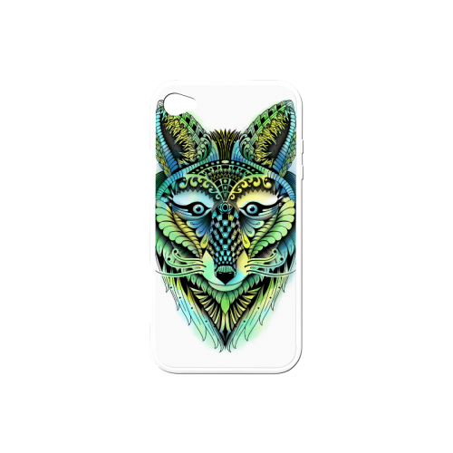 500x500 water color ornate foxy wolf head ornate drawing rubber case