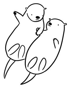 Otters Holding Hands Drawing
