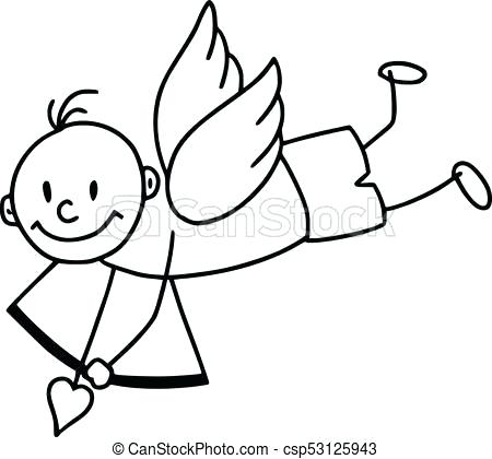 450x420 drawing of cupid cupid outline cupid drawing picture