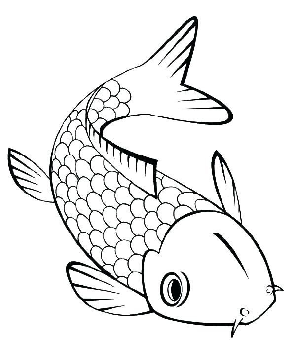 600x707 koi fish outline tattoo fish outline fish outline clip art inside