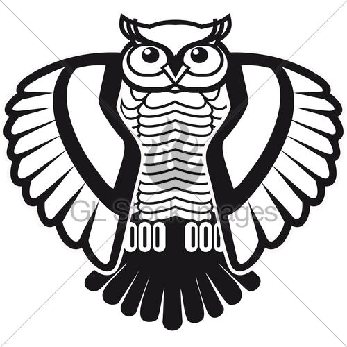 500x500 Design For Logo Black And White Owl Gl Stock Images