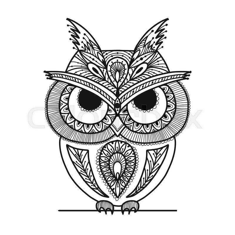 800x800 Ornate Owl, Zenart For Your Design Stock Vector Colourbox