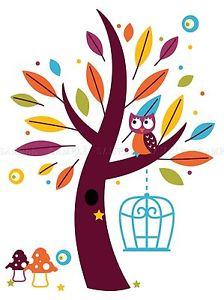 224x300 Painting Drawing Design Cartoon Tree Owl Mushrooms Art Print