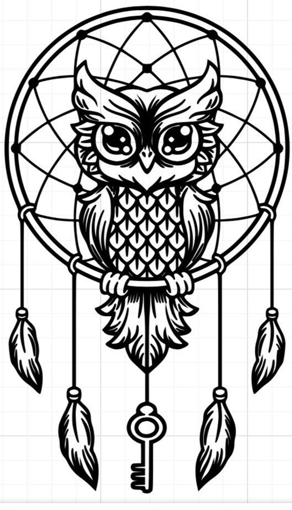 570x997 dream catcher with owl car decal, custom car decal, owl car decal