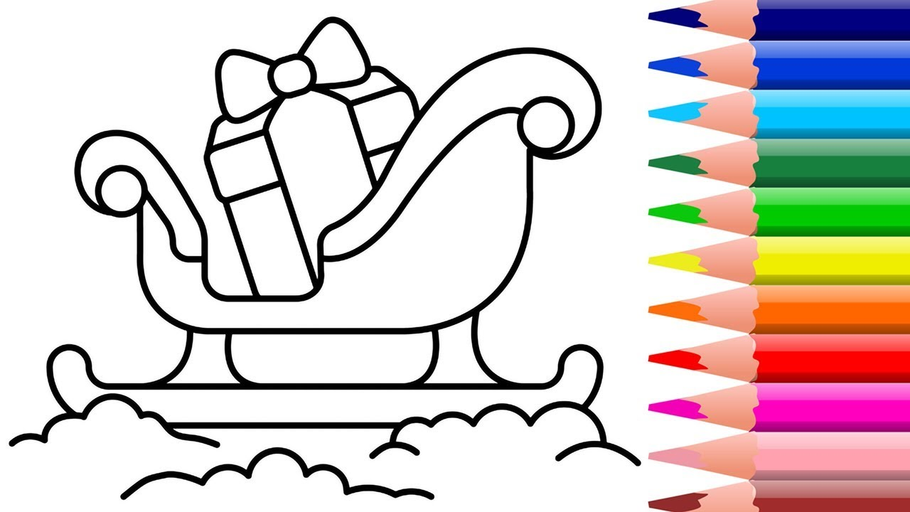 1280x720 How To Draw Santa Claus Sleigh And Owlcoloring Pagedrawing