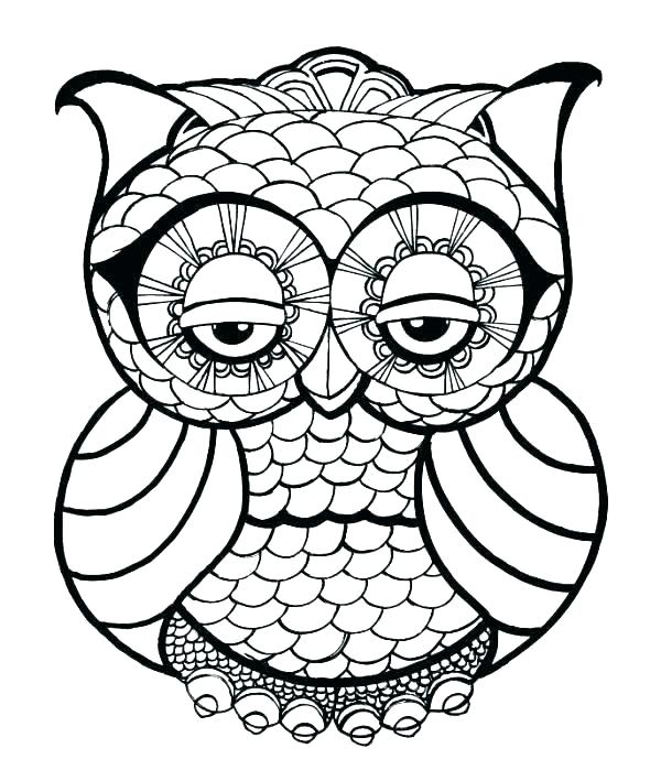 600x699 Abstract Owl Coloring Pages