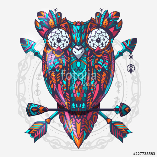 500x500 boho style colored owl with tribal arrows hand drawn style vector