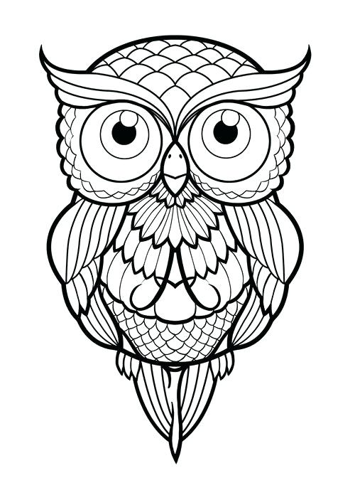 500x696 Owl Drawing Outline Owl Tattoo