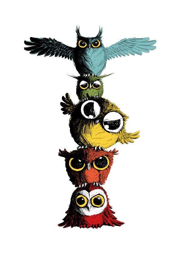 600x840 totem pole of owls cat, dog animal art owl art, totem pole