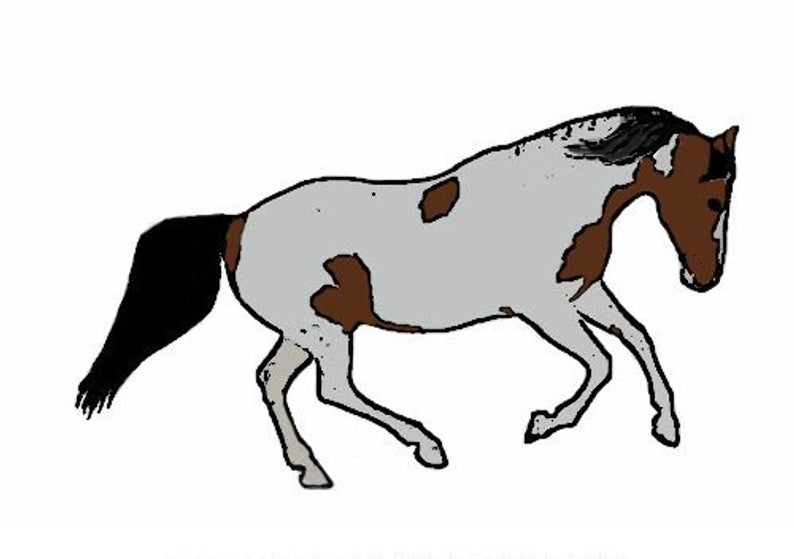 794x559 Galloping Bay Paint Horse Decalsticker Etsy