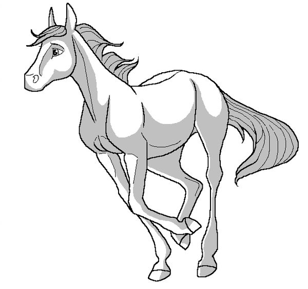 600x564 Young Horse Lineart Ms Paint