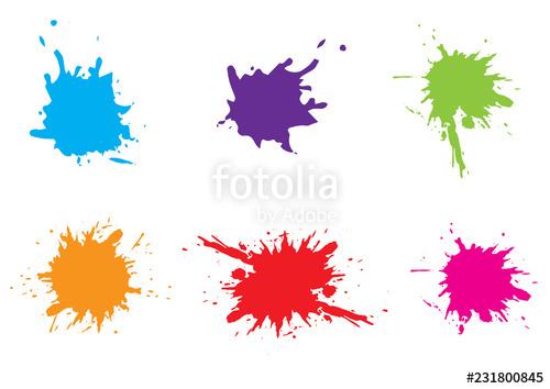 500x354 vector colorful paint splatter paint splash set vector