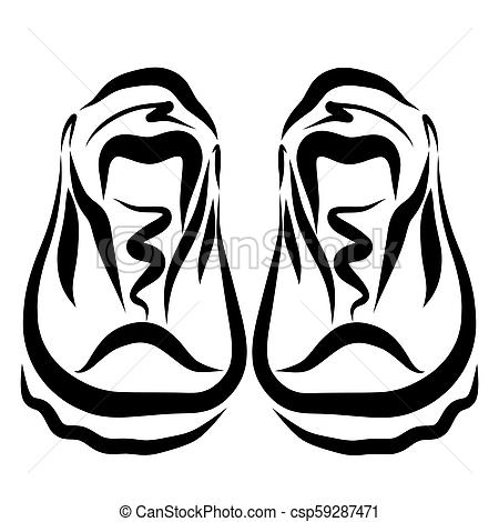 450x470 A Pair Of Athletic Shoes, Drawing In Black Lines