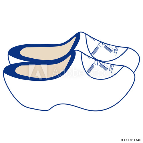 500x500 Pair Of Delft Blue Dutch Wooden Shoes Isolated On A White