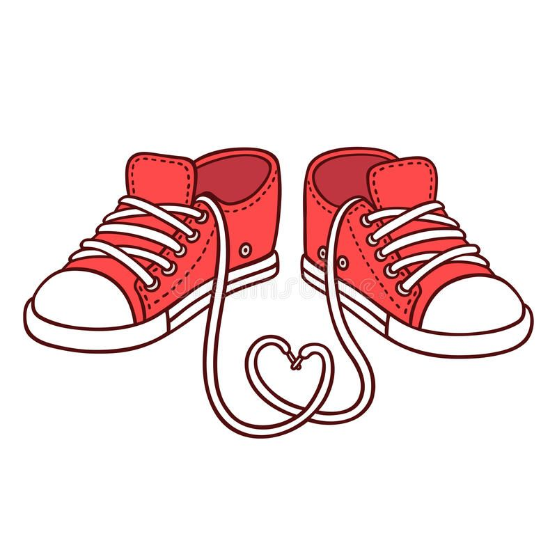 800x800 Photo About Pair Of Red Sneakers With Laces In Heart Shape, St