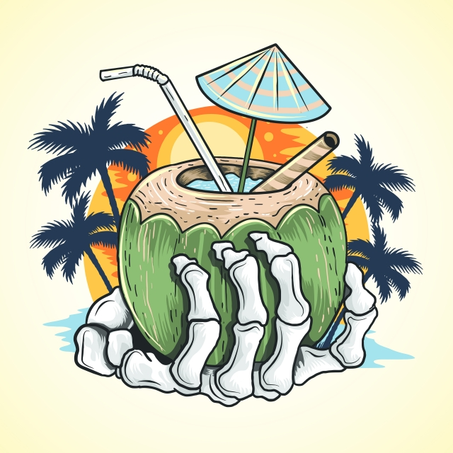 640x640 summer coconut tree and hand skull at beach, art, artwork, artwork