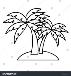 Palm Tree Line Drawing
