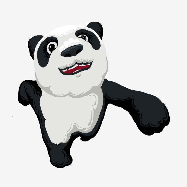 640x640 Running Panda Cartoon Design Commercial Elements Painted,animal