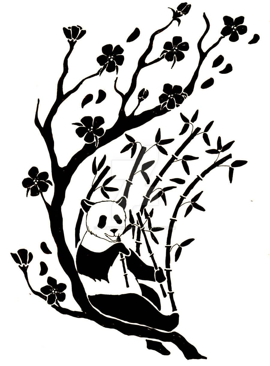 Panda Eating Bamboo Drawing