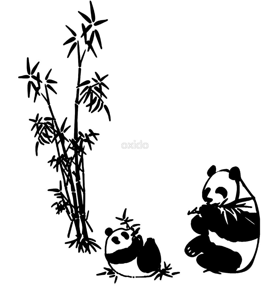 933x1000 Cute Panda Eating Bamboo In Black White