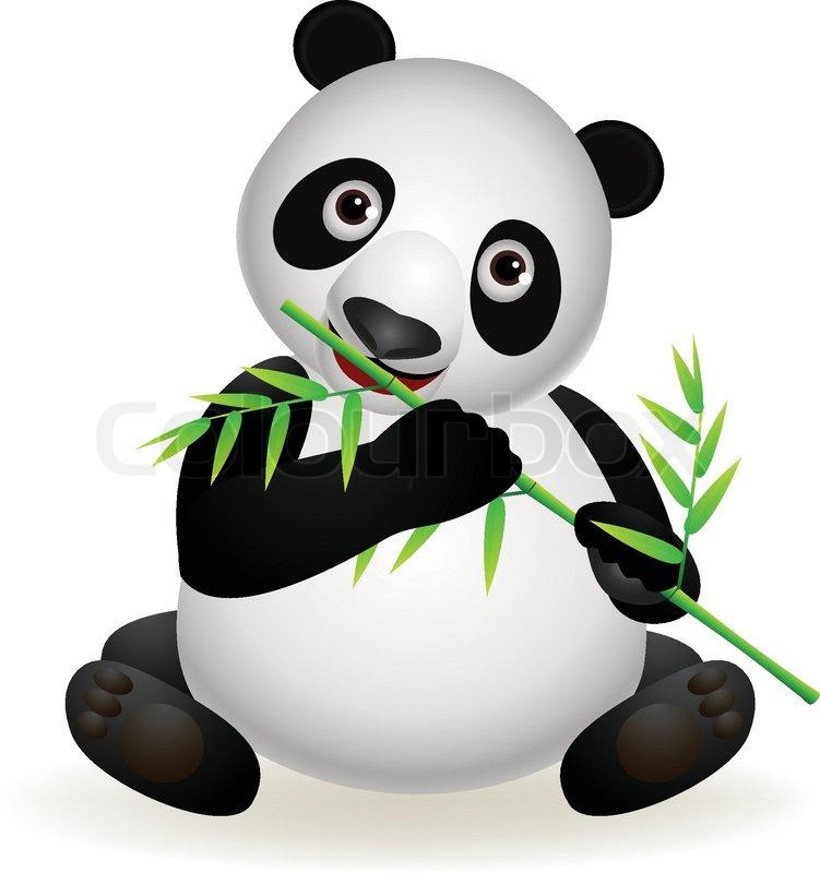 751x800 Panda Eating Bamboo Stock Vector Colourbox