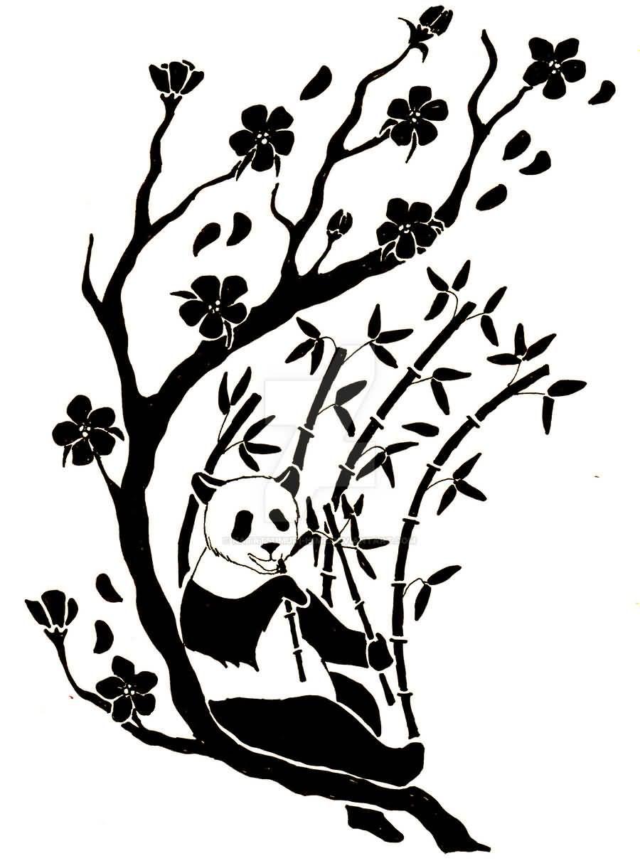 Panda With Bamboo Drawing