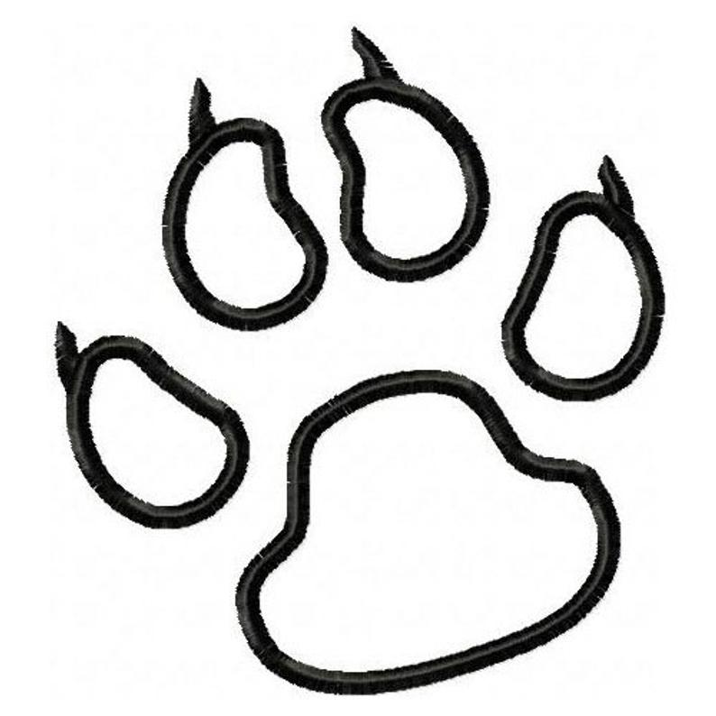 794x794 Panthers Paw Print Embroidery Machine Outline Design Etsy
