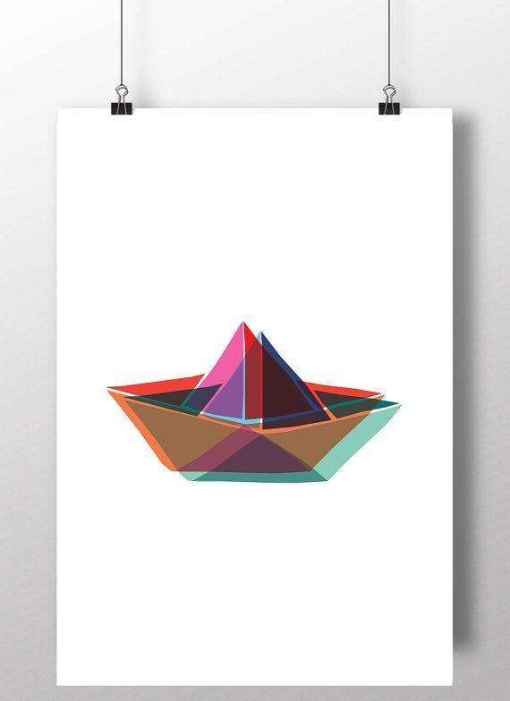 570x784 paper boat art, paper boat printable, paper boat kids room decor