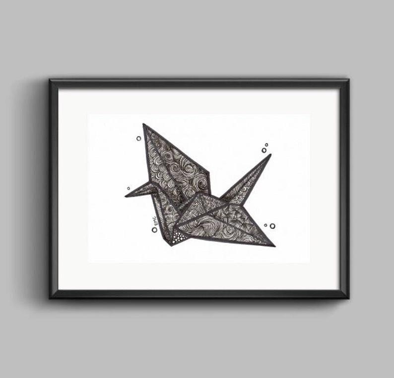 794x761 origami paper crane drawing origami wall art japanese etsy
