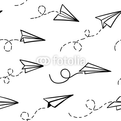 400x400 Seamless Pattern With Vector Paper Airplane Travel, Route Symbol