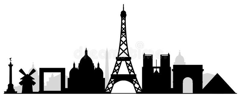 800x332 Paris City Skyline Silhouette